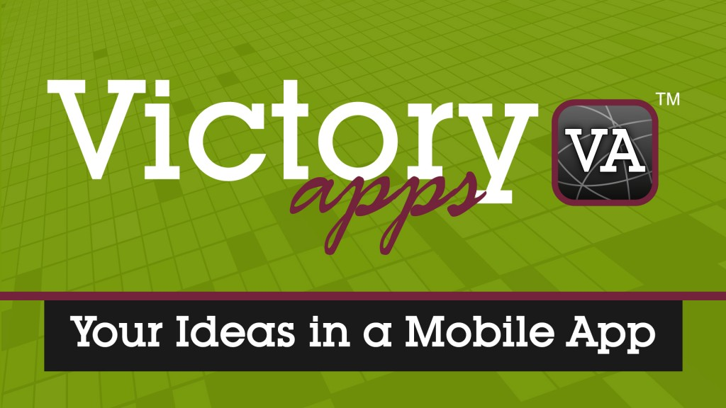 Victory Apps Text with Icon and Green Tiled background
