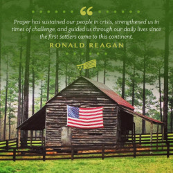 Ronald Reagan Quote with American Flag on Shack in Forest Background