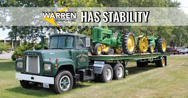 Warren Transport Inc Logo and Text with Tractors on Semi-Truck Bed