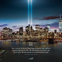 George W Bush Quote with Nighttime City and Bridge Background