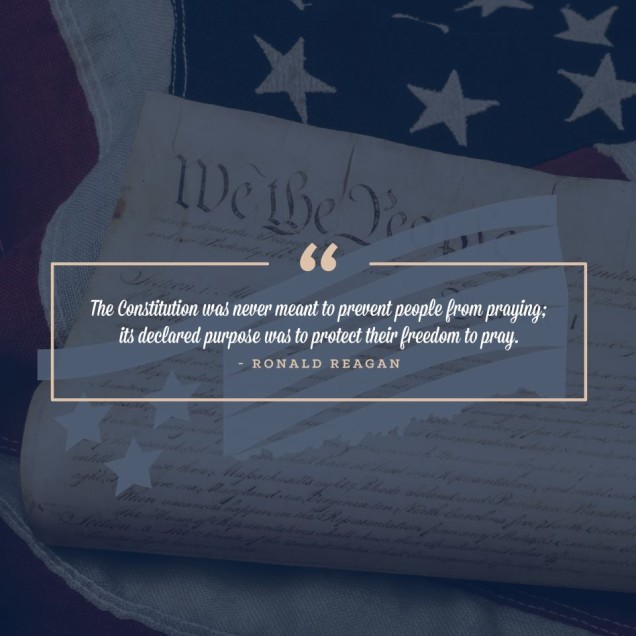 Ronald Reagan Quote with Constitution and American Flag Background