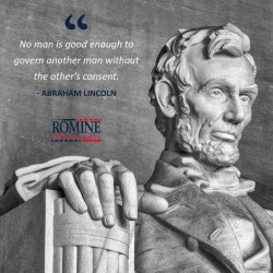 Gary Romine Text with Abraham Lincoln Quote and Statue