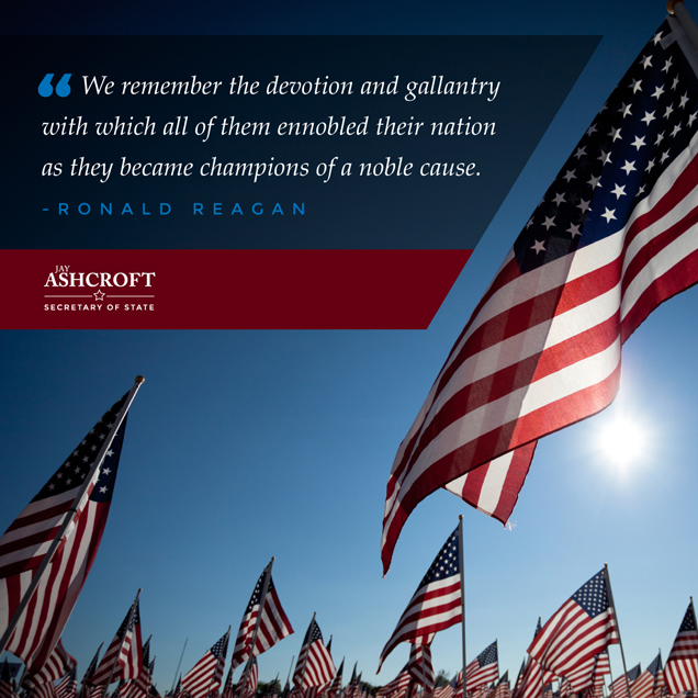 Jay Ashcroft Text and Ronald Reagan Quote with American Flags