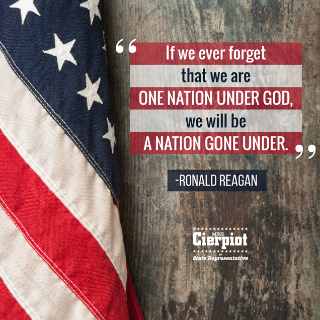 Mike Cierpiot Text with Ronald Reagan Quote with American Flag and Wood Background