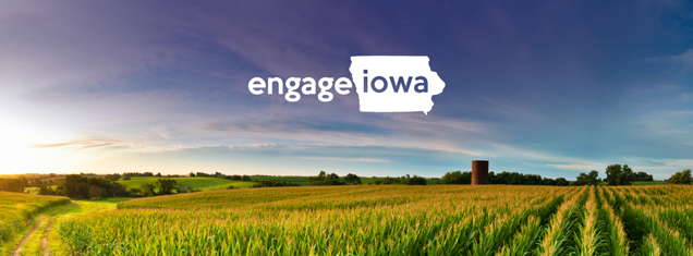 Engage Iowa Text with Cornfield Background
