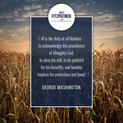 Scott Fitzpatrick Text and George Washington Quote with Wheat Field Background
