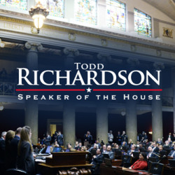 Todd Richardson Speaker of the House Text with Photo of Congressmen at Speech